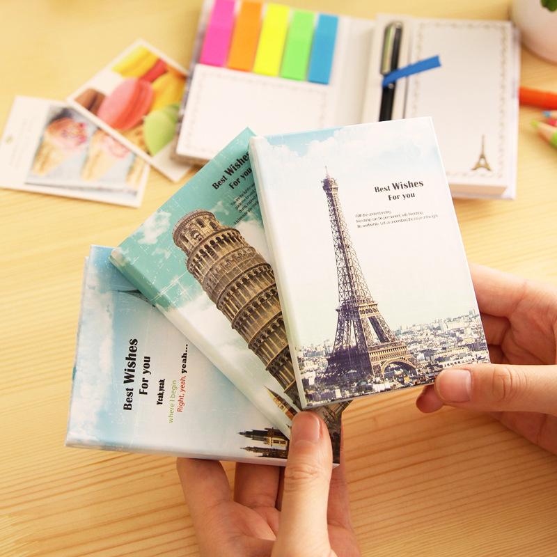 Cute iron tower Memo notes Rainbow Hard cover sticky notes Post it stickers paper Stationery Office material school supplies(China (Mainland))