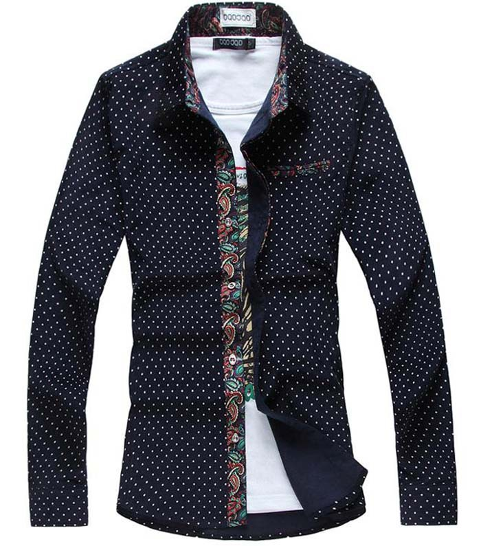 Cheap Designer Urban Clothes For Men buy Polka Dot Floral Brand Men