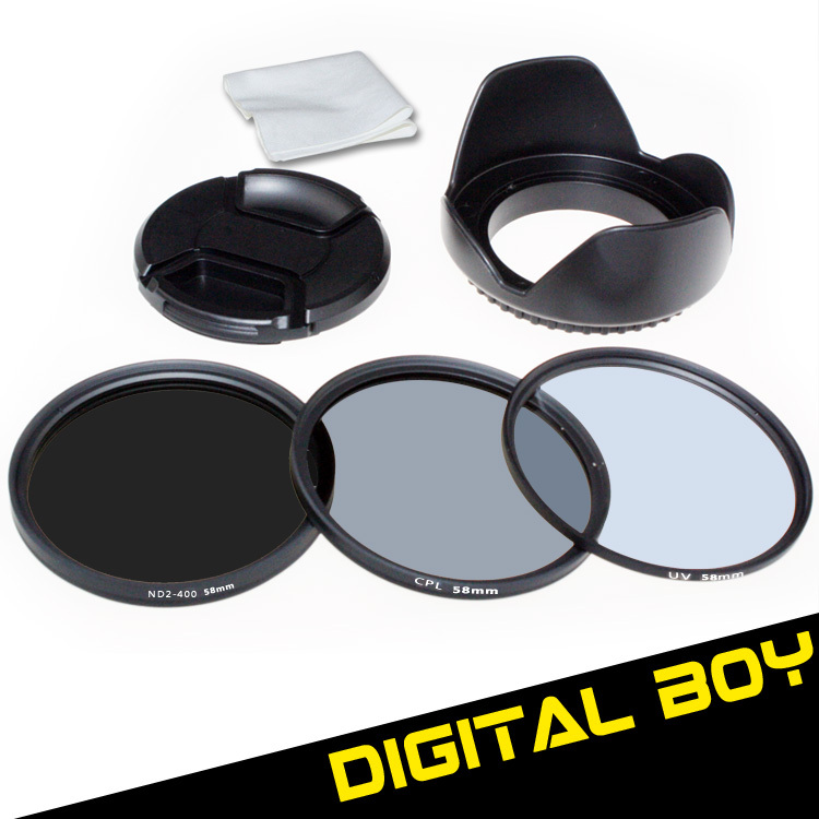 Фильтр для фотокамеры Digital Boy 58mm UV + 58 CPL + 58 ND2 ND400 + + Canon Nikon 18/55 50 /1.4 g 58mm  filer kit фильтр для объектива zomei 52mm cpl 18 55 50 1 8