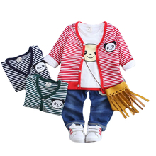 Newest Spring Autumn Baby Boys Girls Clothes Sets Kids Stripe Coat+T Shirt+jeans Pants 3 Pcs Children Jacket Clothing Sport Suit