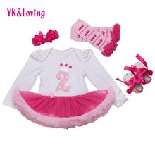 Bebê Recém-nascido de Natal Bonito Do Bebê Dos Miúdos Roupas de Menina 4 Pcs Assecla Longo-Manga Rosa Tutu Vestido De Aniversário Presentes roupas 2015 Novo