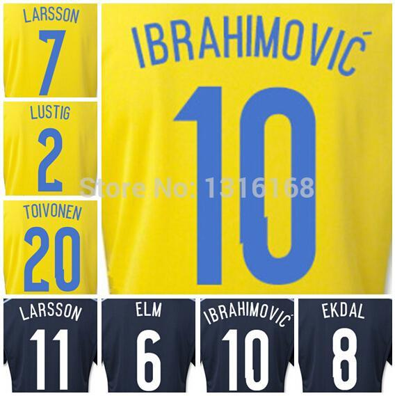 2015 16 Team Sweden Jerseys Zlatan Ibrahimovic Soccer 2 LUSTIG 8 EKDAL 11 LARSSON 20 TOIVONEN 7 LARSSON Football Shirt Kits(China (Mainland))