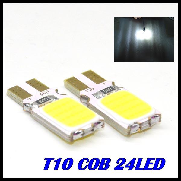 2pcs/lot x T10 194 168 W5W 24led t10 cob led white 5W High Power LED Car Door Lamps Indicator Light Reading Light Bulbs White(China (Mainland))