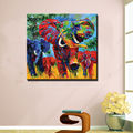 Abstract modern canvas wall decor hand painted funny colorful animal oil painting of elephants wall pictures