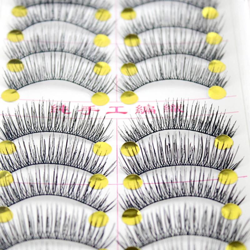 10Pair Makeup Black False Eyelashes Lengthening Natural Soft Fake Eye Lashes Handmade Exquisite Eyelash Extension Beauty Tools(China (Mainland))