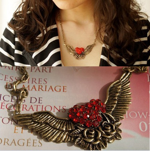 Europe And America Popular Vintage Owl Choker Charm Inlay Crystal Heart Owl Necklaces WN010(China (Mainland))