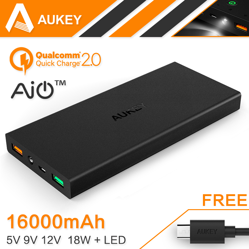 16000mAh Aukey Quick Charge 2.0 Portable External Battery 5V 9V 12V Dual USB Mobile Power Bank Support Quick Charge Input/Output