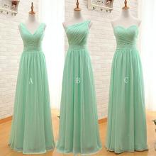 Mint Green Long Chiffon A Line Pleated Bridesmaid Dress Under 50 Wedding Party Dress 2016(China (Mainland))