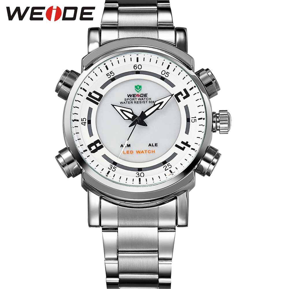 WEIDE Popular Brand Silver Stainless Steel Watch Men 30m Waterproof LED Analog Quartz Watch With Alarm Backlight Gifts For Men<br><br>Aliexpress