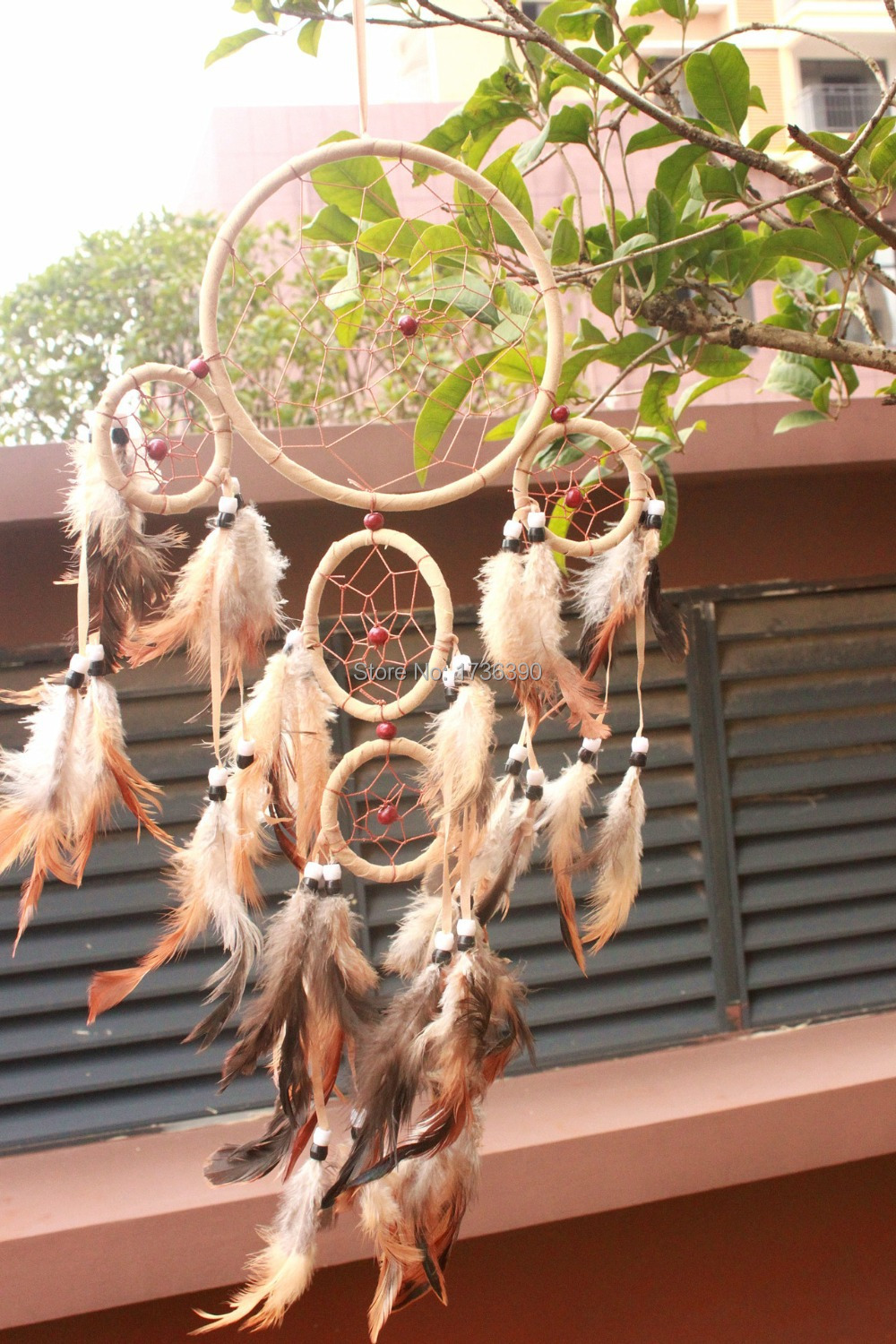 """Free shipping lovely round circles 5pcs with baby leather indian dream catcher long 20""""(China (Mainland))"""