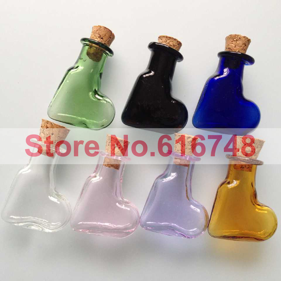 Free s 2ml glass bottles with wood cork multi colored for Colored glass bottles with corks