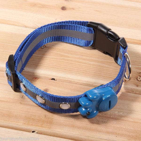 2015 New Hot  LED Light   Dog String Leash Flat Woven Dog Collars Belt with Blue Cateyed LED Lamp Blue(China (Mainland))