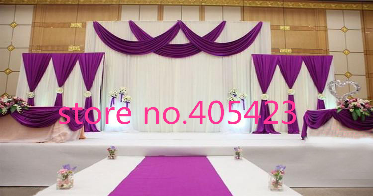 3pcs lot 1pcs 3 4m 2pcs 2 2m ice silk white color with - Cortinas para escenarios ...
