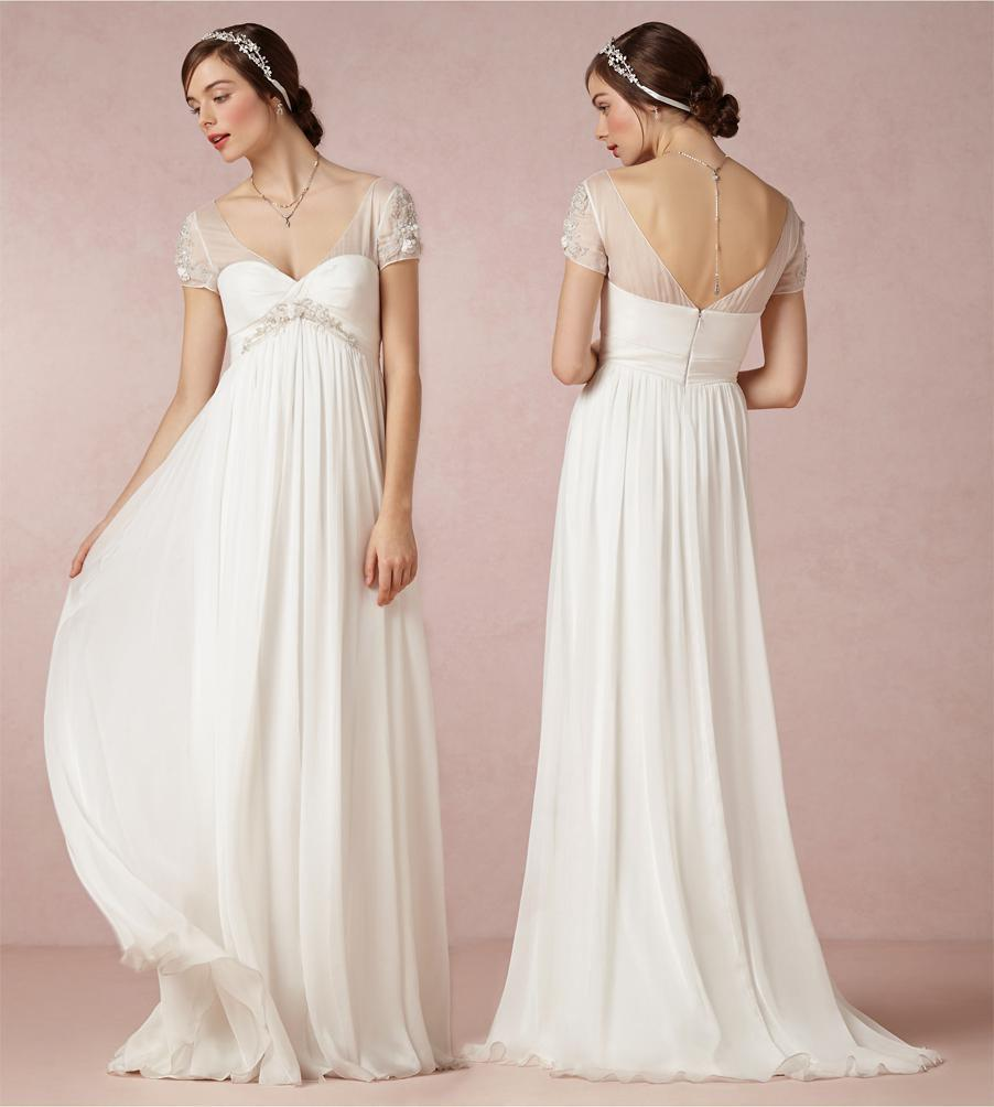 Summer Style Beach Wedding Dresses 2015 Bridal Gowns With Short Sleeves V Nec