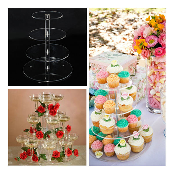 2015 Hot Selling Round Acrylic 4 Tier Cupcake Cake Stand For Birthday Wedding Party Cake Shop Home Kitchen(China (Mainland))