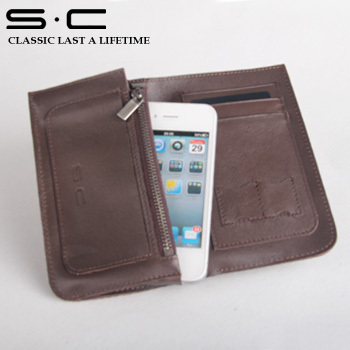 Purchase Free Shipping 100% soft cow leather wallet for iphone 5s in black and brow for Mobile Purse  cand slot accessories