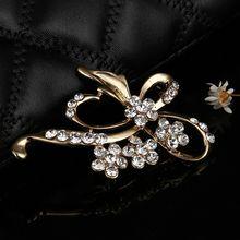 Lớn pin rhinestone trâm mũi khóa handmade Pha Lê bướm brooch pins đối với phụ nữ đảng scarf đồ trang sức(China)