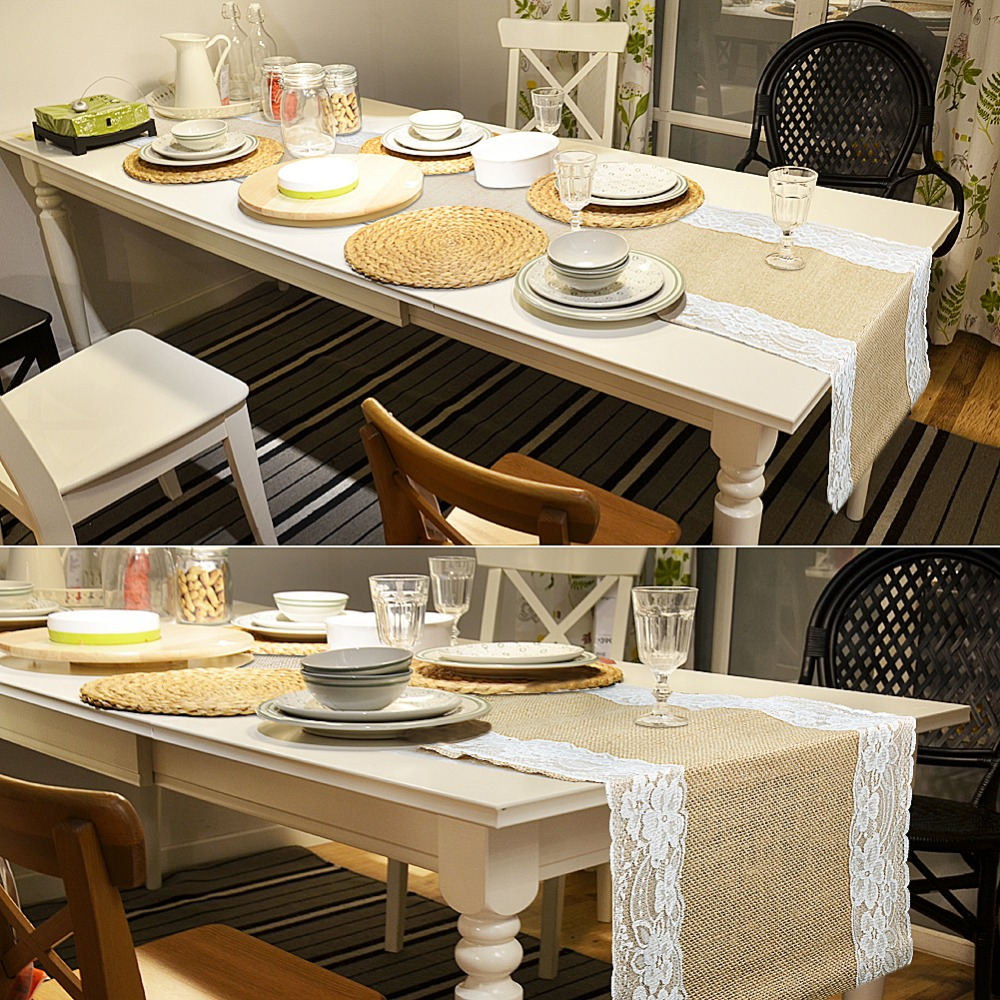 Buy vintage table runners for wedding decoration burlap lace table runner Home decoration with jute