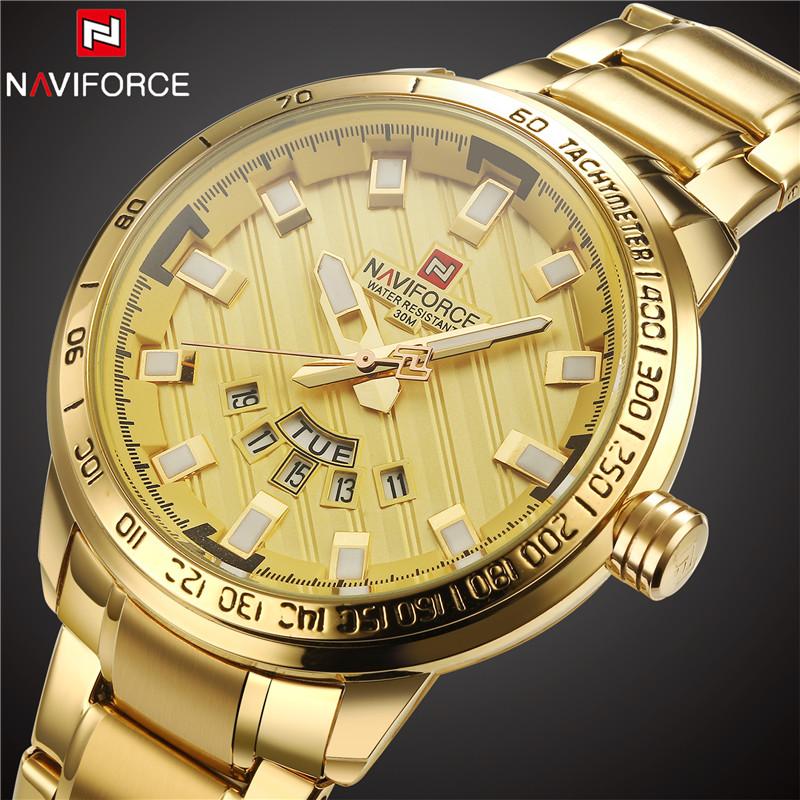 New Fashion Mens Watches Top Brand Luxury NAVIFORCE Clock Male Gold Steel Army Military Quartz Watch Men Sport Relogio Masculino(China (Mainland))