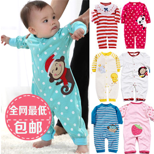 Newborn supplies autumn and winter spring and autumn romper 0-1 year old baby cotton knitted romper(China (Mainland))
