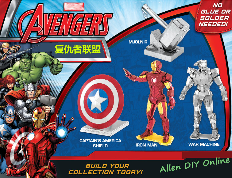 2016 New Arrival Laser Cutting 3D Metal Model Puzzle Toy Kids/Adults DIY Assembled Gift Marvel Hero Iron Man Captain's America(China (Mainland))