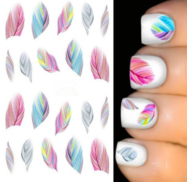 1 Sheet Fashion Leopard Nail Decals Water Transfer Stickers Nail Art Tips Feather Wraps DIY Decorations Nail Art Tools #ST02(China (Mainland))