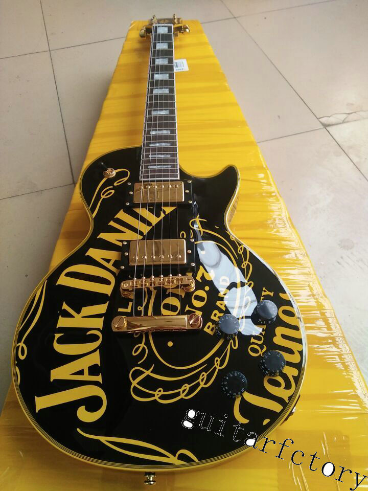 FREE SHIPPING LP CUSTOM guitarra black jjackdaniei's OEM brand ELECTRIC GUITAR lp guitar direct IN CHINA(China (Mainland))