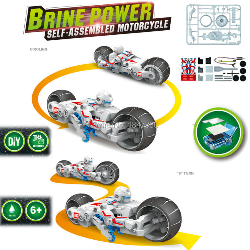 DIY Brine power Battery Building Blocks Self-assembled puzzle Toys Motorcycle model kit Educational toys for children(China (Mainland))