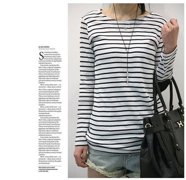Low collar striped shirt bottoming loose ladies clothes black white long-sleeved t-shirt tide  -  Tingting's happy Store store