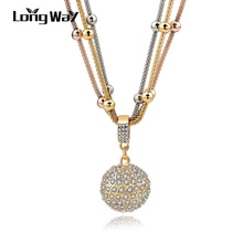 Buy LongWay 2017 Hot Sale Women Long Necklace Gold Color Chain Necklace Full Rhinestone Ball Pendant Necklace SNE140451 for $4.09 in AliExpress store
