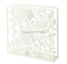 2 pieces/lot  white color hollow flower pattern steel napkin holder(China (Mainland))