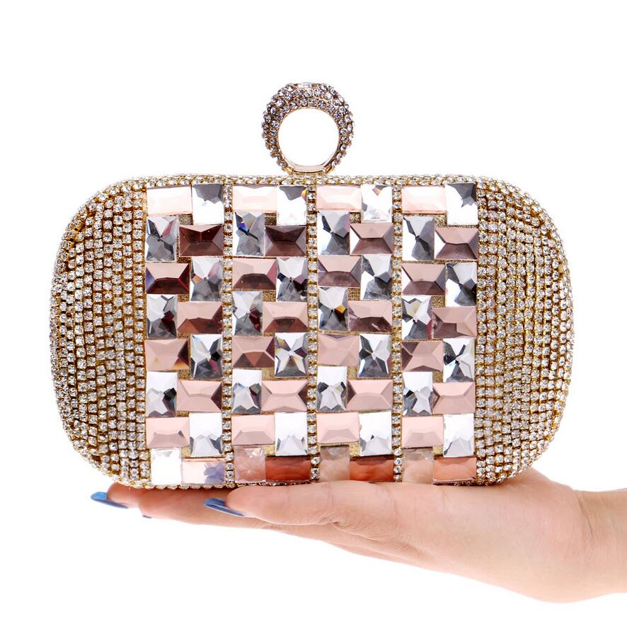 Top Shinny Silver Rhinestone Evening Bag Crystal Gold Clutch Bags Bride Banquet Bling Blue Clutches small shoulder bag W734(China (Mainland))