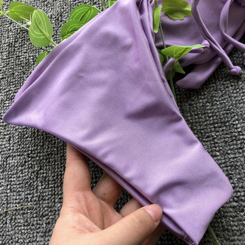 Женский сексуальный фиолетовый бантик бикини на завязках Монокини завязки микро PA0305Z(7)