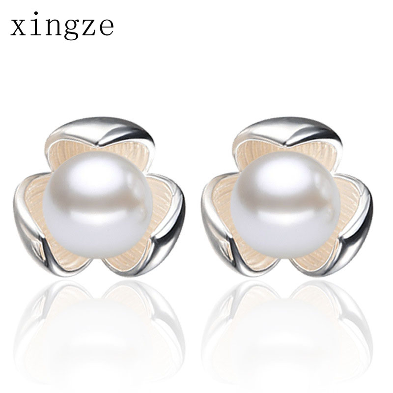 New Style Women Silver Plated Earrings Lucky Three Clover Imitation Pearl Earrings High Quality Fashion Ear Jewelry Wholesale(China (Mainland))