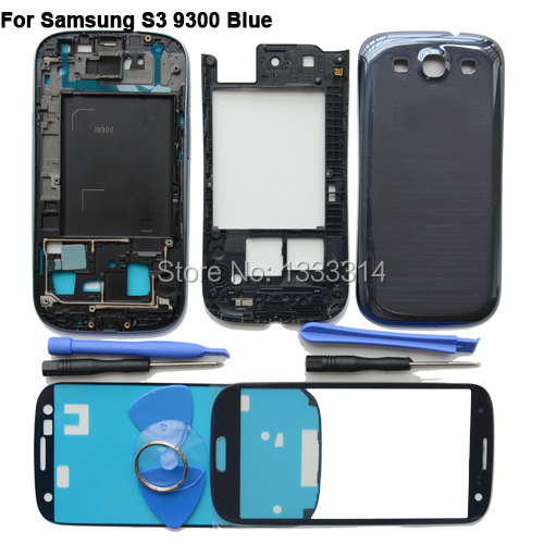 Blue For Samsung Galaxy S3 III GT-i9300 Full Cover Housing & Front Glass Screen & tool Mobile Phone Repair Part Replacement(China (Mainland))