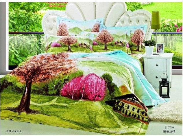 Green blue tree bedding comforter set for queen size bedspread duvet cover bed in a bag sheet bedsheet 100% cotton bedroom(China (Mainland))