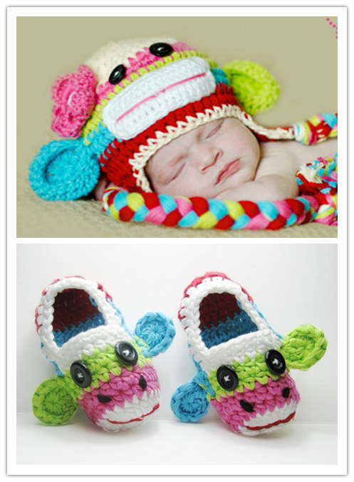 2015 crochet costume baby girl hat and caps New funny baby-hats baby earflap hat kids crochet patterns newborn baby monkey caps(China (Mainland))