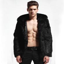 DHL  man real rabbit fur coat jacket over coat  black  brown plus size  winter(China (Mainland))