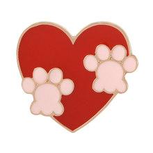 Paw Cetak Pin Kucing Anjing Jejak Kaki Bros Lencana Kartun Cinta Hati Enamel Ransel Pin untuk Teman Hewan Peliharaan Hadiah Perhiasan Grosir(China)