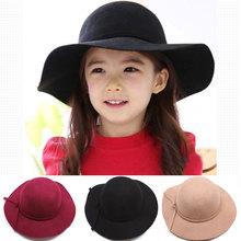 New Fashion Children Baby Boys Girls Summer Sun Hats Vintage Retro Wool Fedoras Wide Sun Beach Cap Hats For Children 2-7 Years