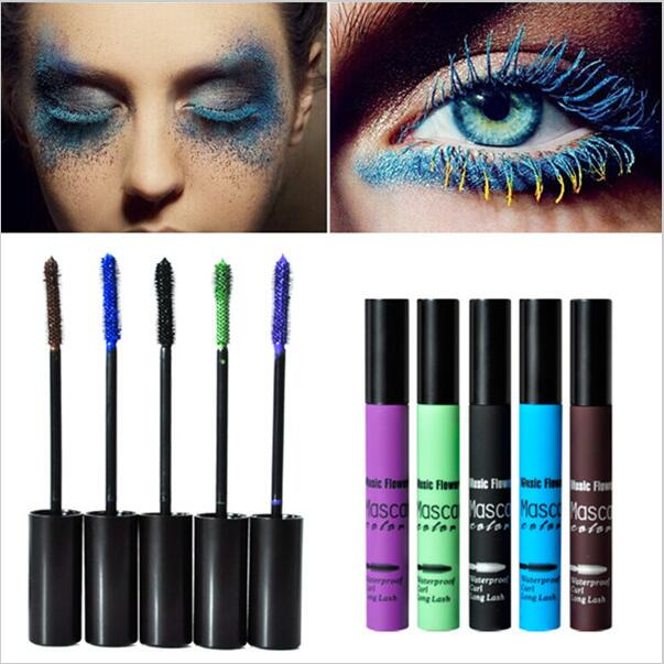5pcs/lot Music Flower mascara makeup Cosplay multicolour mascara 5 colors black blue brown purple green waterproof free shipping(China (Mainland))