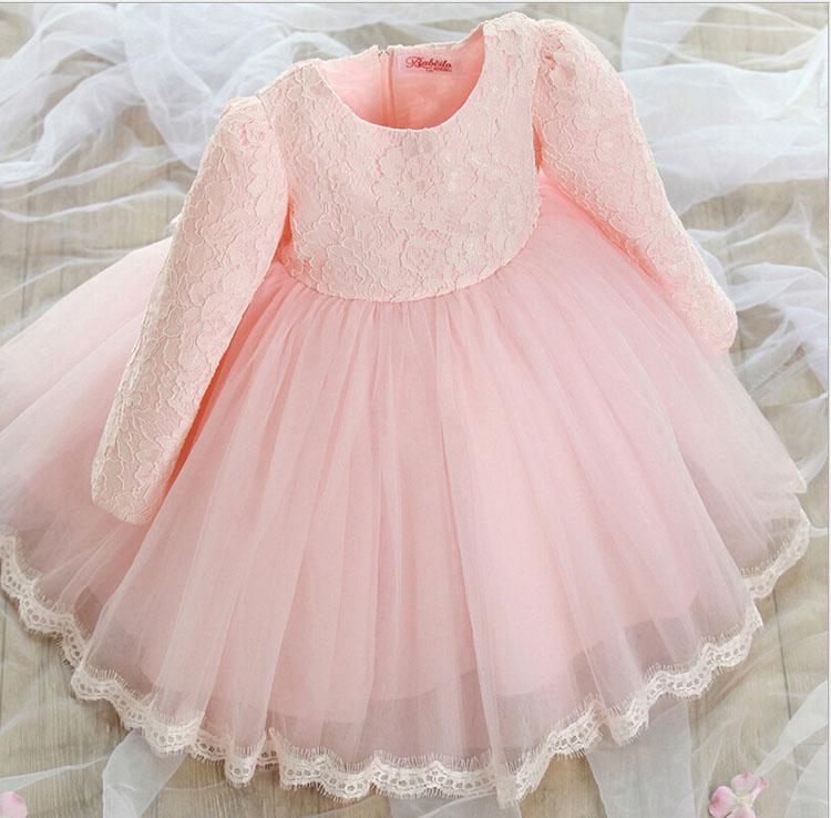 Dresses for christmas flower belt pink tulle girls long sleeve wedding