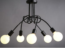 Black & white E27 with bulbs Pendant lamp vintage personality modern brief led ceiling light