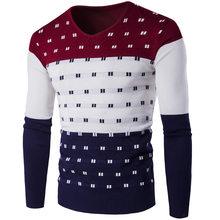 2019 5 색 스트라이프 스웨터 남성 따뜻한 긴 소매 V 넥 겨울 의류 패션 슬림 맞는 인쇄 풀오버 스웨터(China)