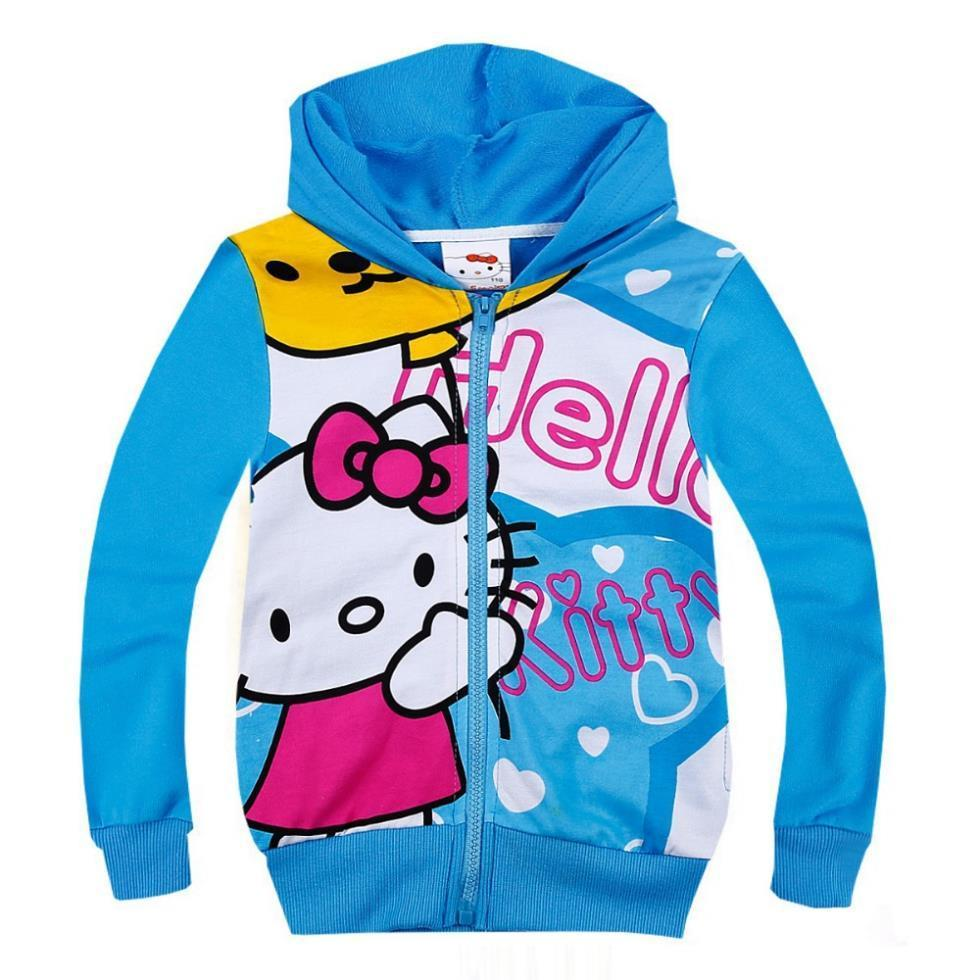 New girls Autumn spring cartoon hello kitty coat kids printed long sleeve outerwear children's leisure jackets in stock(China (Mainland))