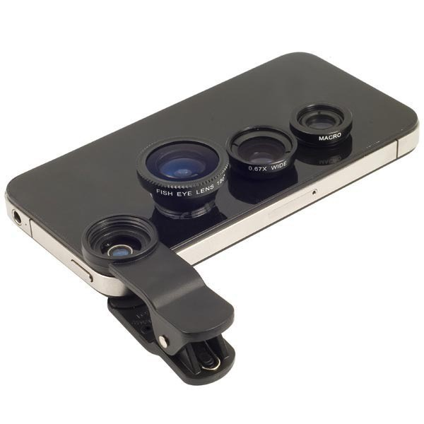 Fish Eye Universal 3 in 1 Fisheye Wide Angle Macro Camera Lenses For Iphone 6s Plus 5s 5 Samsung S6 S5 Mobile Phone Lens