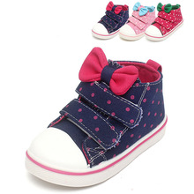 New Spring Sneakers for Girls Cute Bow Baby Shoes Girls High Quality Infantile Baby Casual Canvas Sneakers(China (Mainland))