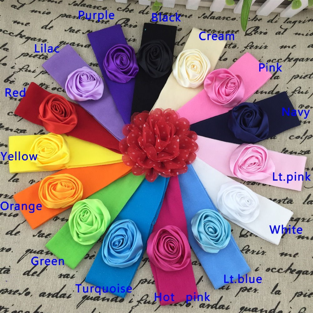 satin rose flower baby headbands,2inch rose flower with 5*17cm nylon headbands for baby,children hair accessories,15pcs/lot(China (Mainland))