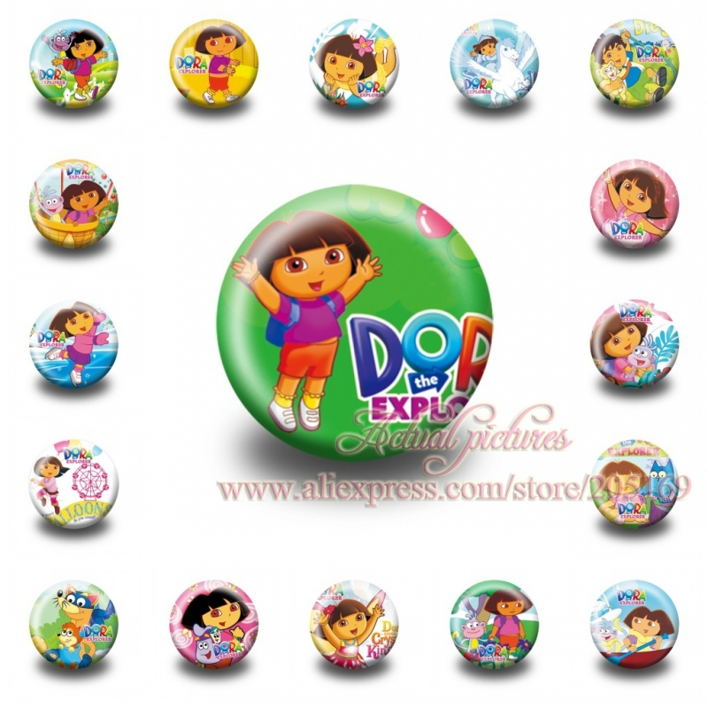 Wholesale , 18PCS Dora Pin button badges, 30MM,Round Brooch Badge ,Mixed 18 Styles,Kids Party Favor,Kids Best Gift(China (Mainland))