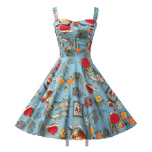 Ladies Cotton robe Rockabilly Womens Summer style Dresses pin up Retro Vintage 50s Audrey Hepburn Swing print Casual clothing